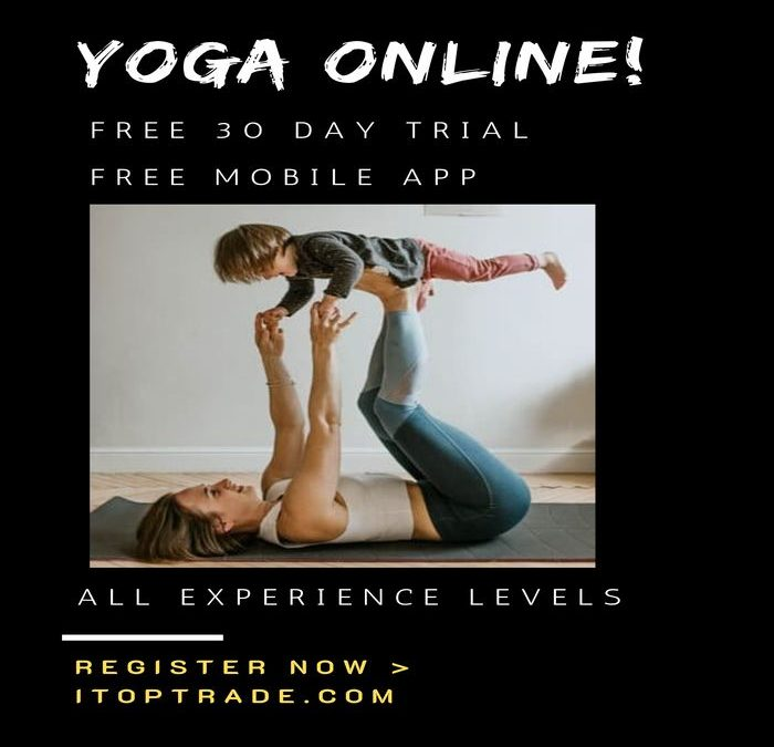 mother doing yoga with her child by following free online classes presented via itoptrade-com